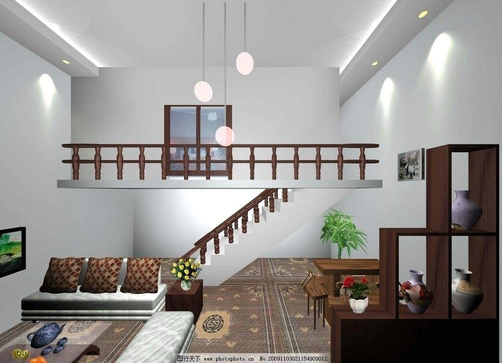 室内效果图 房 灯 茶几 沙发 电视 楼梯 树 3d作品 3d设计 设计 72dpi