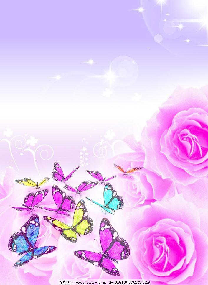 唯美蝴蝶鲜花紫色闪亮背景图片