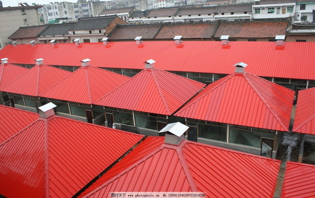 红房顶 红色 关中 房子 房顶 陕西 建筑 建筑景观 自然景观 摄影 72