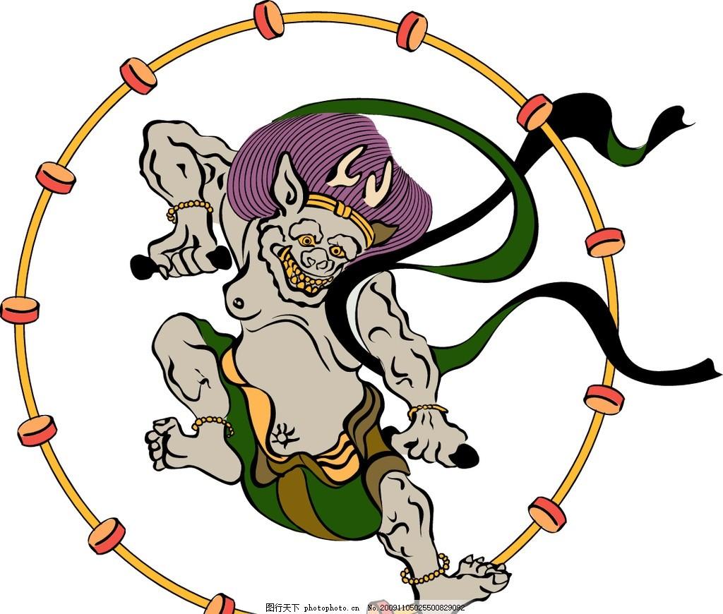 浮世绘矢量图 素材 广告素材 设计资料 平面元素 动物 麒麟 狮子 浮世