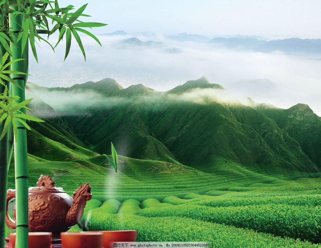 茶山 绿色背景 绿色底图 茶 茶叶 茶艺 蓝天 雾 竹子 psd分层素材 源