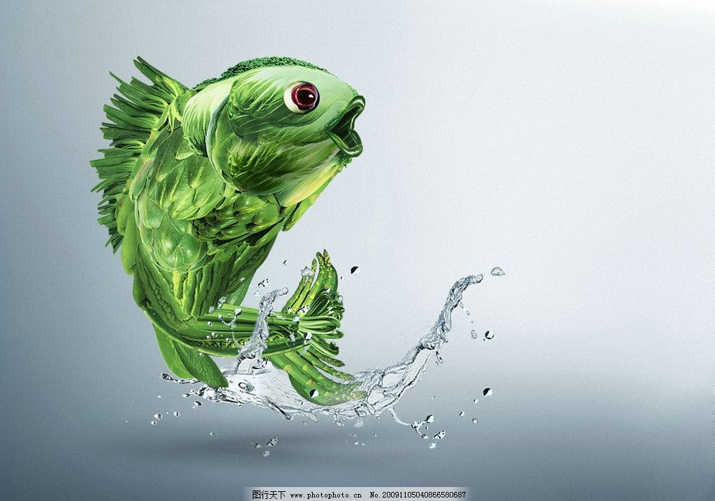 蔬菜组成的鱼图片