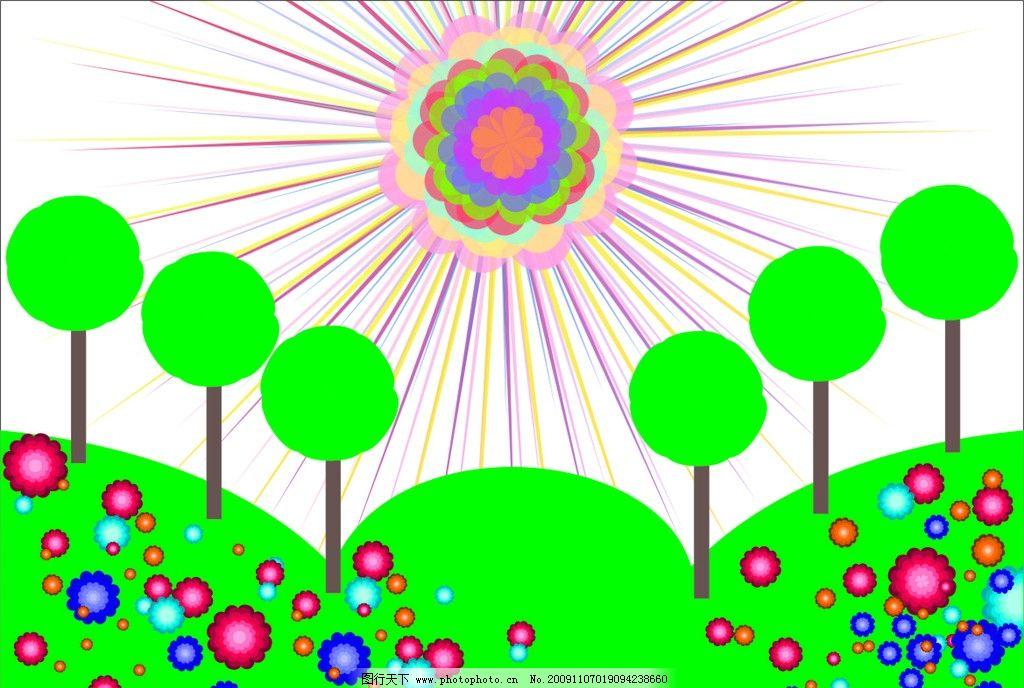 花 树木 春天 幼儿教育背景 幼儿园墙画 儿童画 卡通画 美术绘画 文化