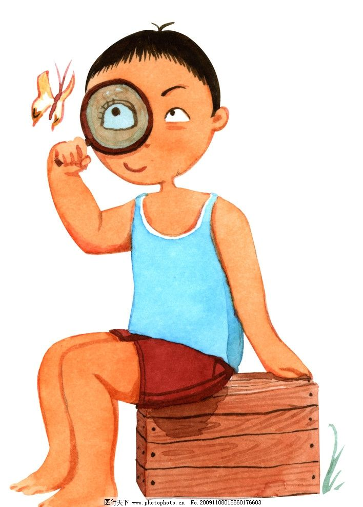 小男孩 小朋友 小弟弟 放大镜 蝴蝶 儿童画 其他 动漫动画 设计 600