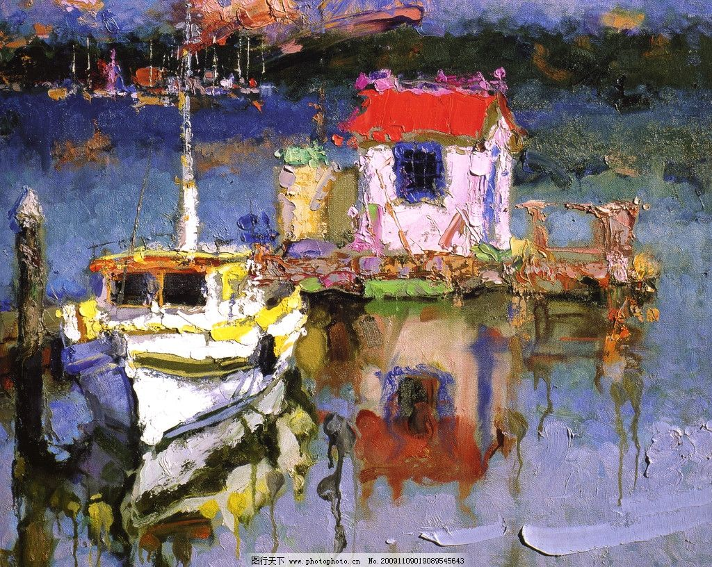 风景油画 水上人家 小船 小房子 水草 酒店挂画 绘画书法 文化艺术