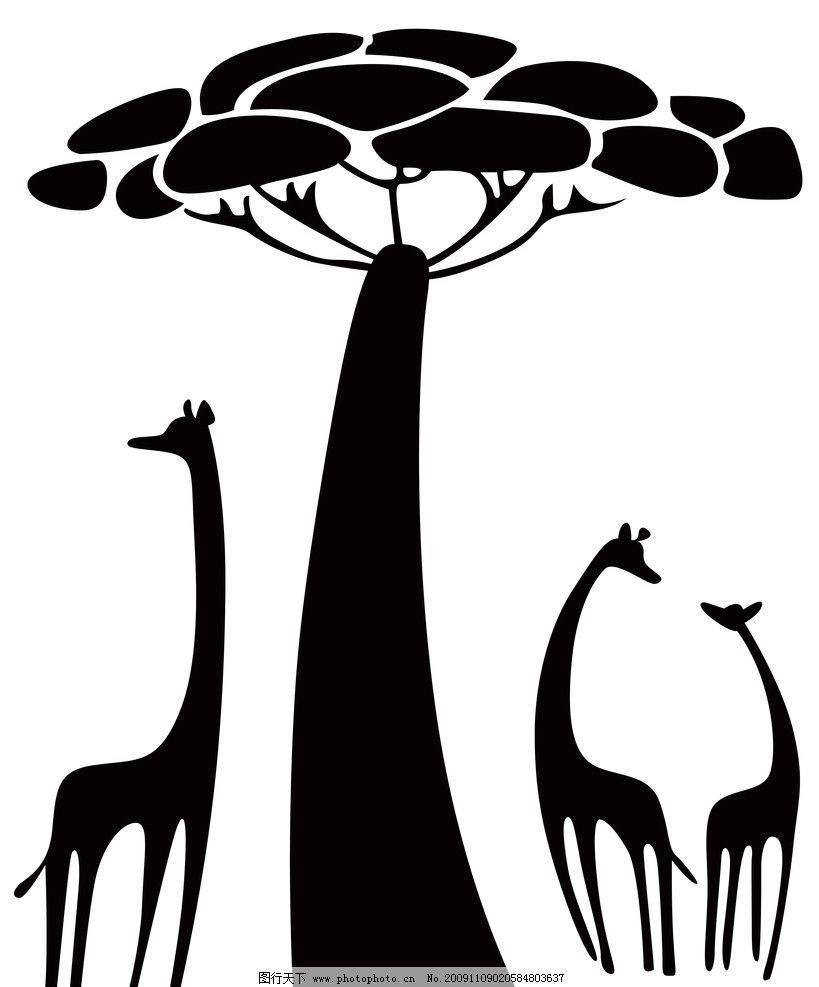 图片素材 其他素材 黑色树 黑色小鹿 300dpi 条纹线条 底纹边框 设计