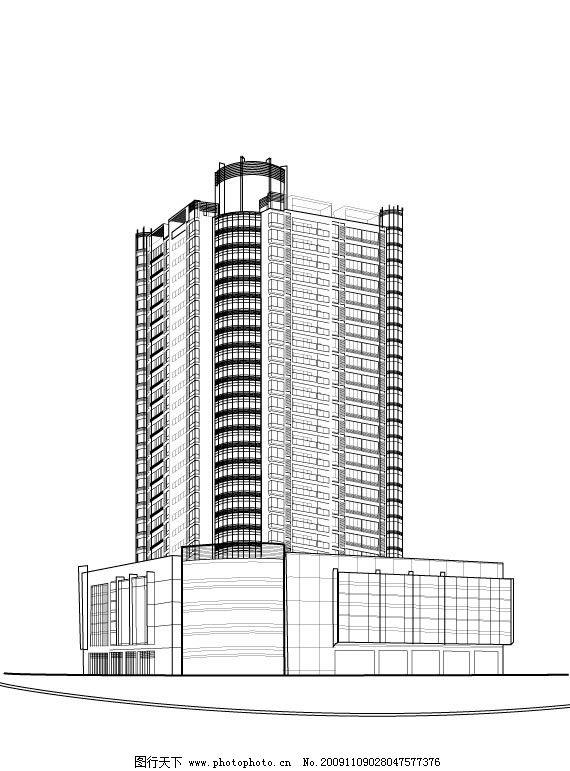 广场建筑线描 高楼广场建筑线描可上色 城市建筑 建筑家居 矢量 ai
