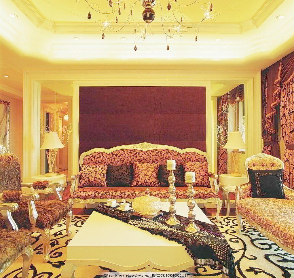 欧式豪华客厅一角高清摄影 室内装修 客厅 地板 沙发 茶几 室内摆设