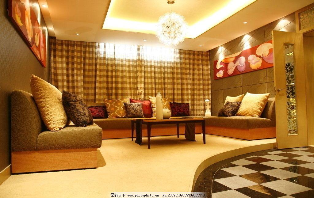 欧式豪华客厅一角高清摄影 室内装修 地板 沙发 茶几 室内摆设