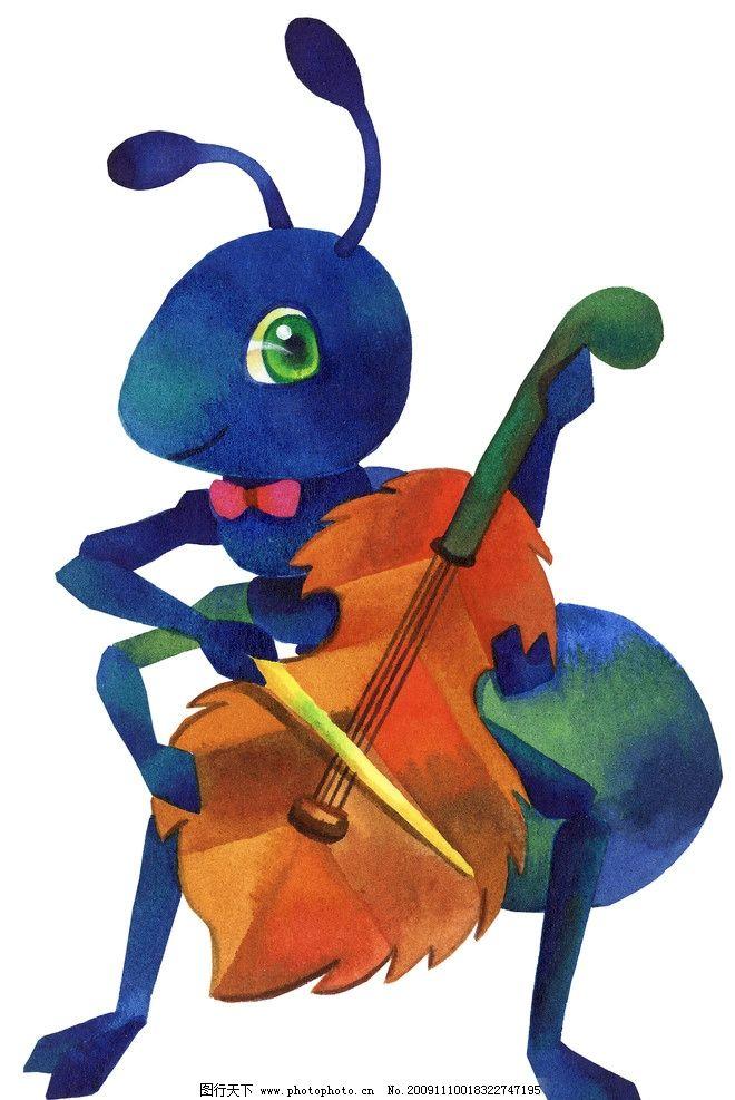 蚂蚁弹琴 卡通 小提琴 动漫动画图片