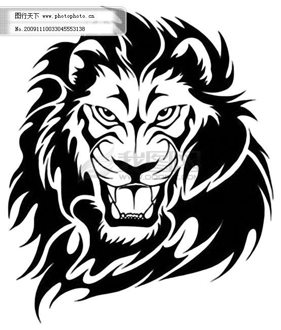 狮子图案psd素材免费下载 psd 动物 黑白 花纹 设计 狮子 素材 图案