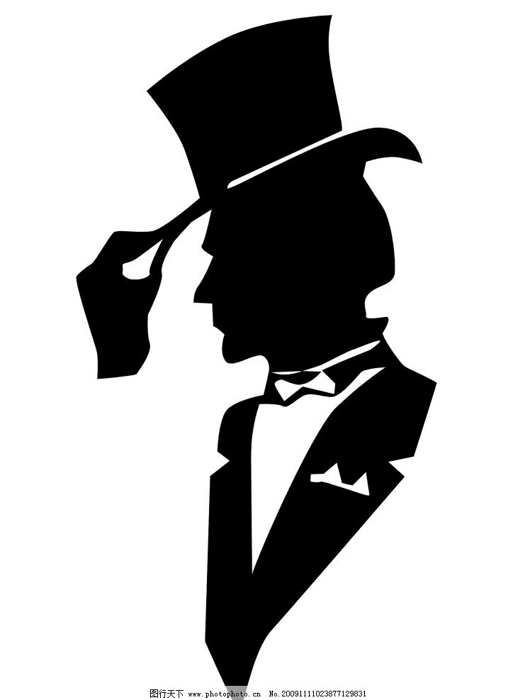 男士人物图标 男士 绅士 礼帽 黑白头像图标 肖像 矢量标识 男人男性