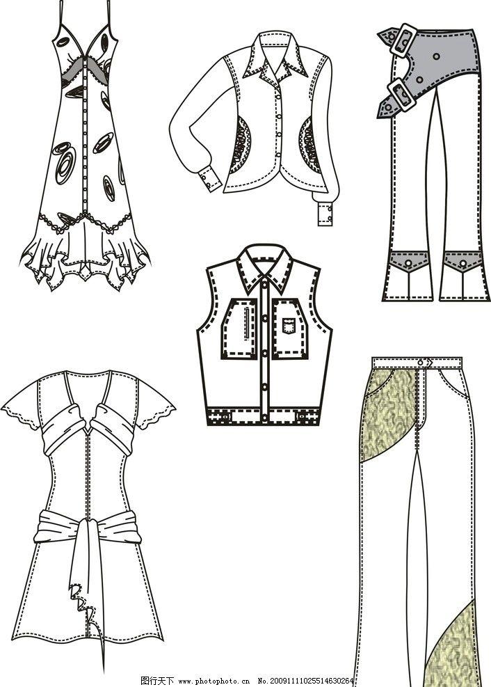 服装款式 矢量服装款式线稿可上色平面图 生活用品 生活百科 矢量 cdr