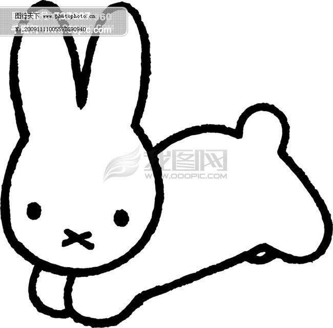 卡通兔子免费下载 奔跑中的兔子线条矢量图
