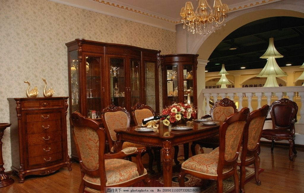 餐桌 欧式风格 椅子 餐厅 碗柜图片图片