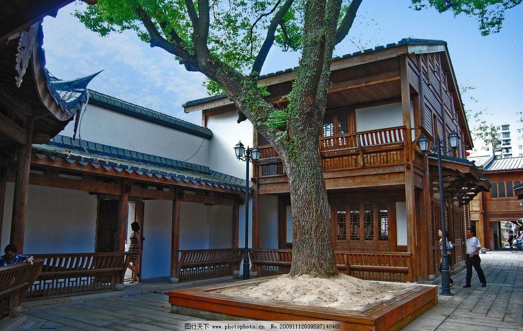 江南古民居景观 古建筑 古民居 古街 古色古色 古庭院 大树 青砖 木房