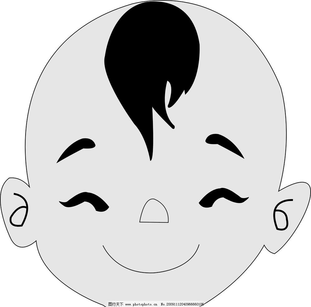 孩子头像 笑脸 面孔 小孩      圆鼻 头发 弯眉 儿童幼儿 矢量人物
