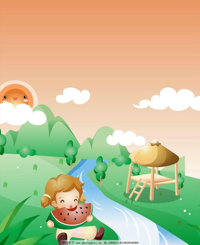 卡通小孩 卡通 儿童 小男孩 蓝天 白云 小草 卡通图片 其他 动漫动画