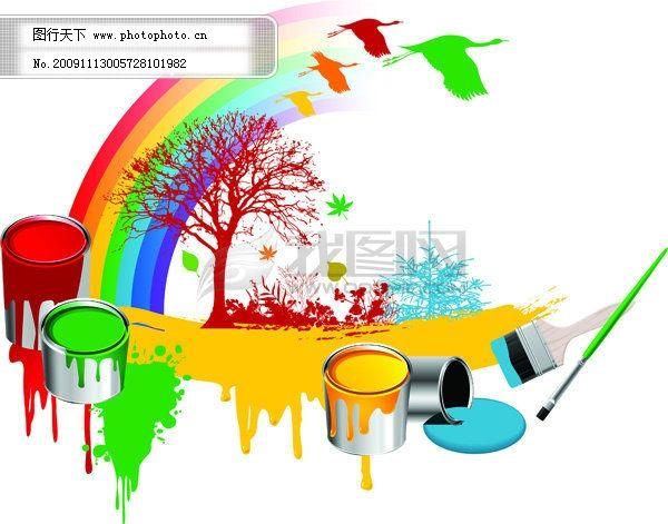 油彩 彩色油漆油桶 色彩鲜艳 矢量油刷油漆 刷子 刷漆 彩笔 油彩 矢量