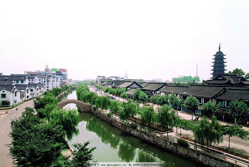 护城河 常熟 古城区 方塔 树 古建筑 倒影 桥 信号塔 常熟风景 山水