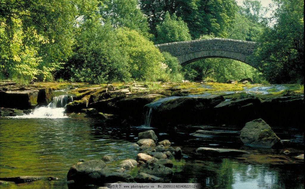 河間風景 天空 樹林 橋水 石頭 小瀑布 英國風景 國外旅游