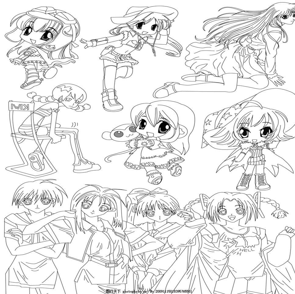 卡通人物线稿 动漫 可爱 美少女 卡哇伊 长发 漫画风格 底稿