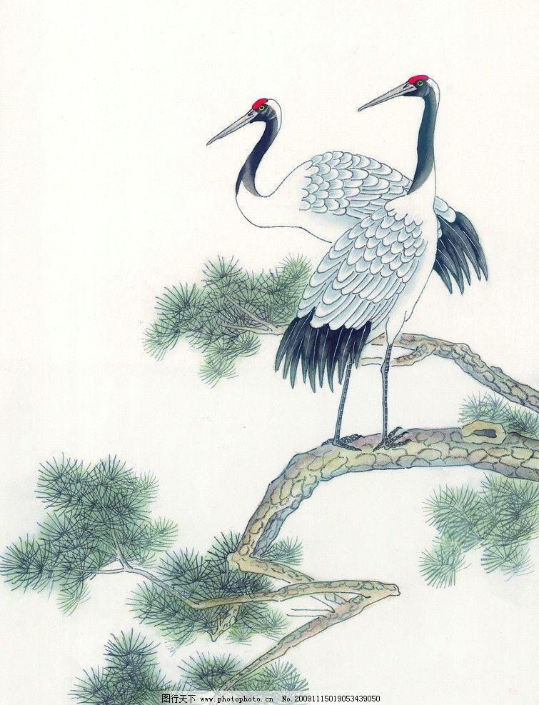 吉祥鸟类 国画 古典 美术 绘画 仙鹤 中国美术图库 绘画书法