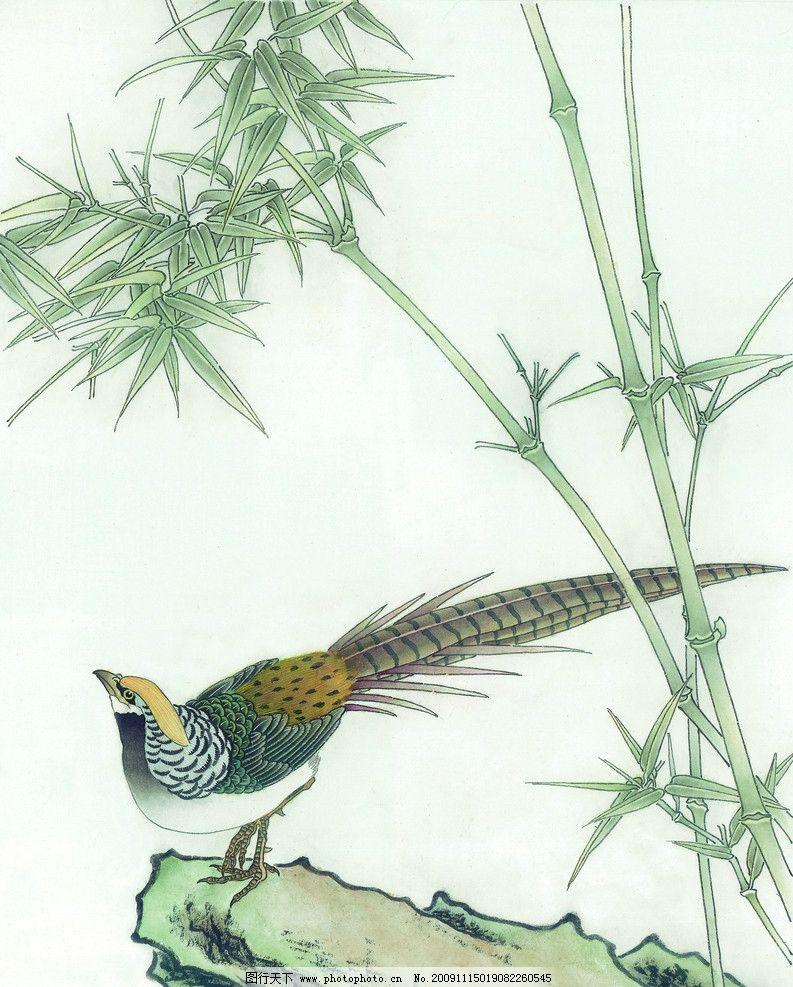 吉祥鸟类 国画 古典 美术 绘画 竹子 中国美术图库 绘画书法 文化艺术