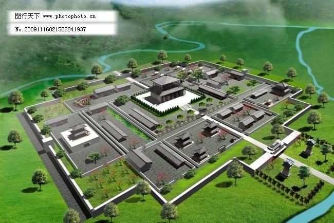 3d设计模型 max ray 宫殿 古代 古建筑 汉代 荒山 山水 室外模型 古