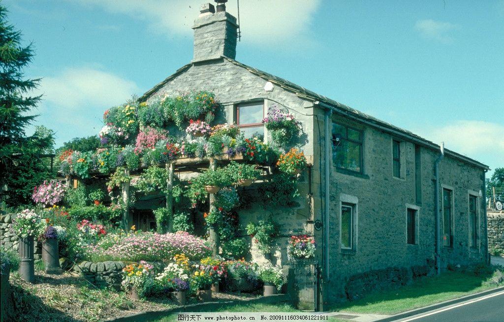 花房 天空 云 房子 树 草地 英国风景 国外旅游 摄影
