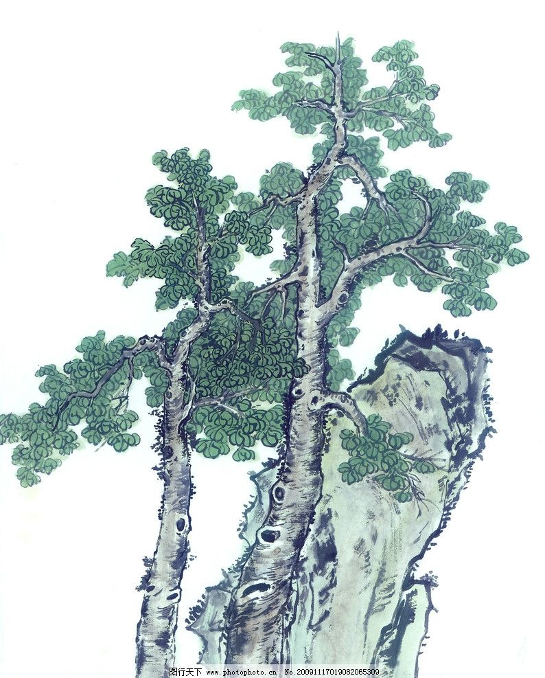 古枝奇石 国画 树 石头 古典 美术 绘画 中国美术图库 绘画书法 文化