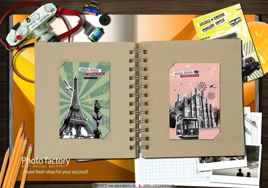 绿色调 相机 巴黎铁塔 笔记本 经典人物 大气 铅笔 源文件