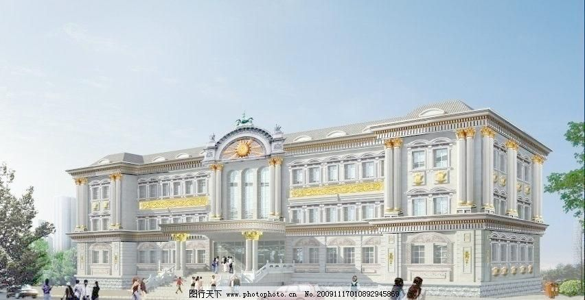 办公大楼欧式建筑外观 办公大楼 欧式建筑      罗马柱 线条 窗套图片
