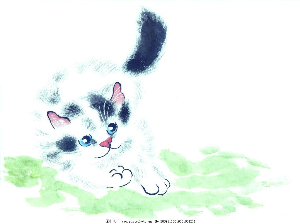 猫的专辑 国画 古典 美术 绘画 中国美术图库