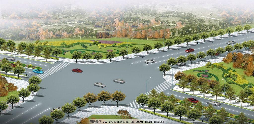 道路绿化 道路绿化效果图