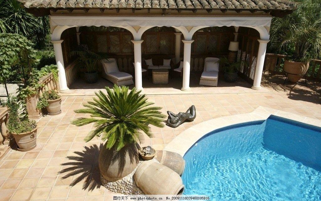 欧式别墅图片 别墅泳池