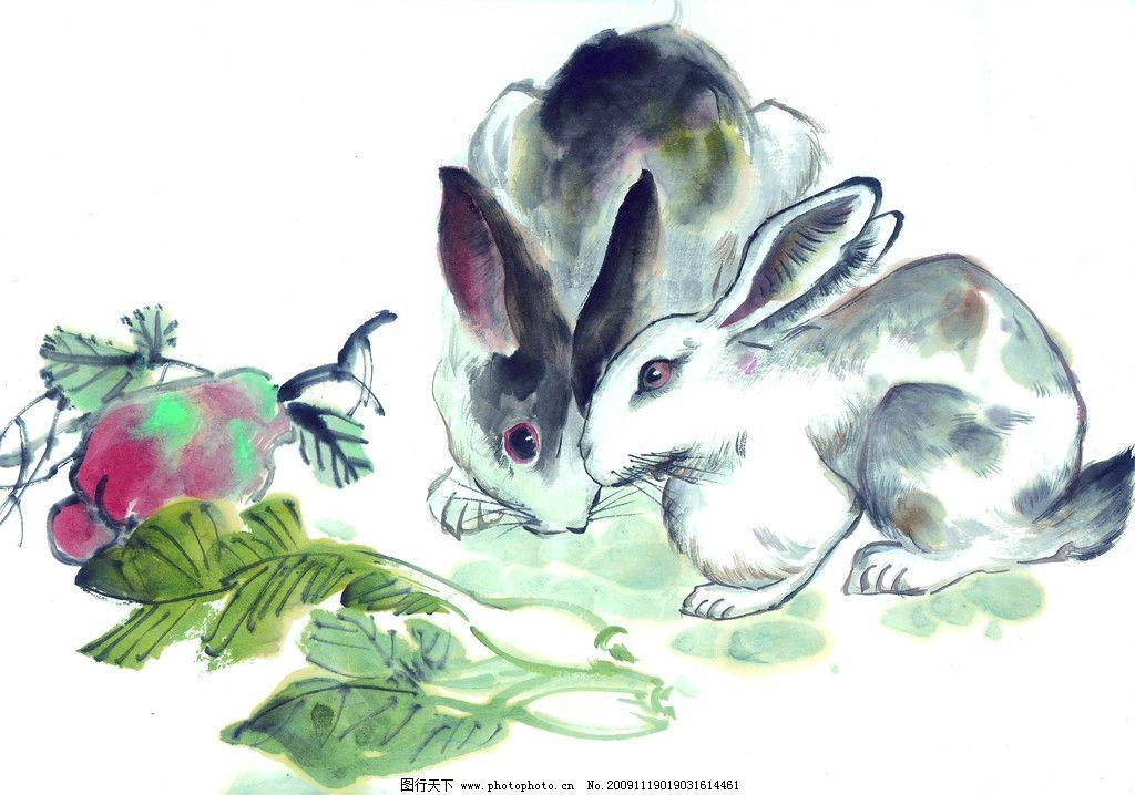 十二生肖 兔 国画 古典 美术 绘画 中国美术图库 绘画书法 文化艺术