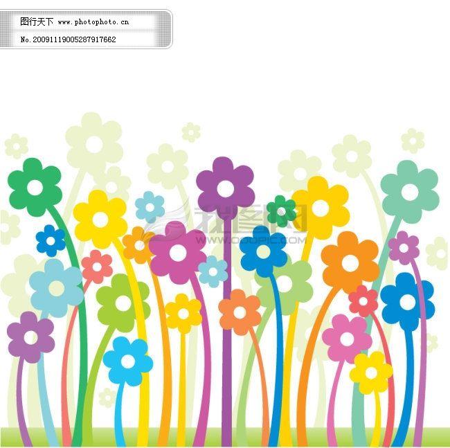 花花背景 幼儿园素材 幼儿园素材 花花背景 淡色背景 矢量图 花纹花边