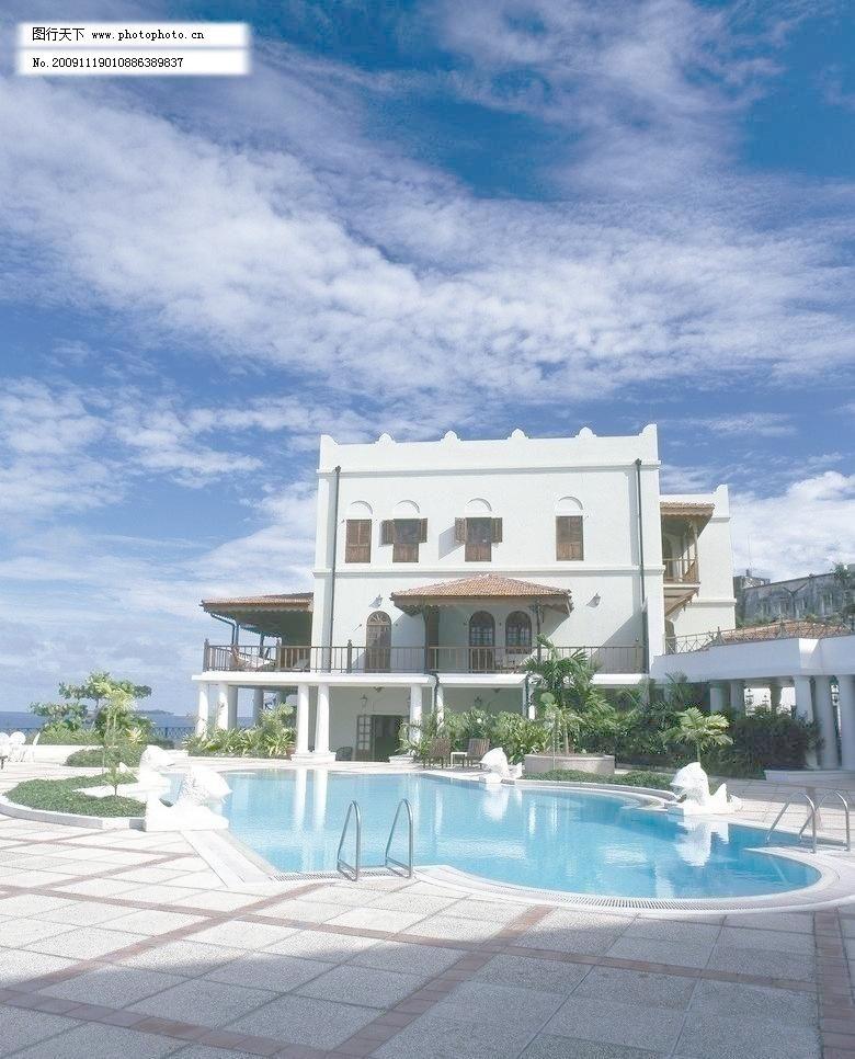 欧式别墅及泳池图片
