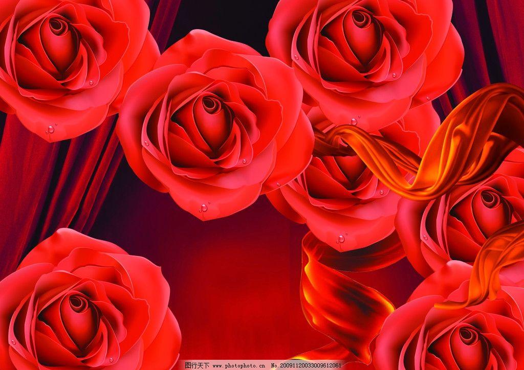 红玫瑰 幕布 飘带 红色 浪漫 psd分层素材 源文件 350dpi psd