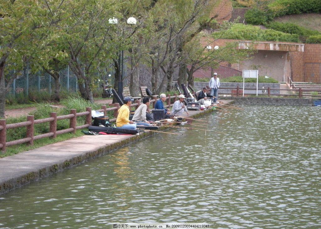 釣魚人 池塘 釣場 自然風景 山峰 山水 鯽魚 日本攝影