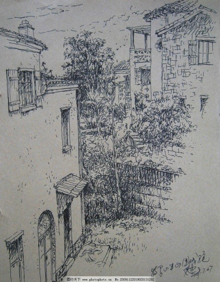 成都牧马山别墅 成都 牧马山 欧式别墅 花园 钢笔画 绘画书法 文化