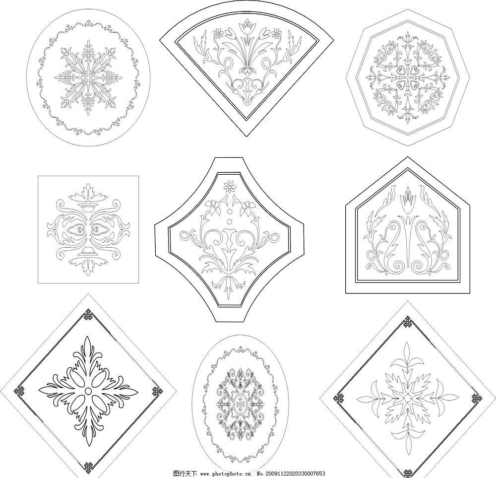 9款欧式矢量黑白花纹图片