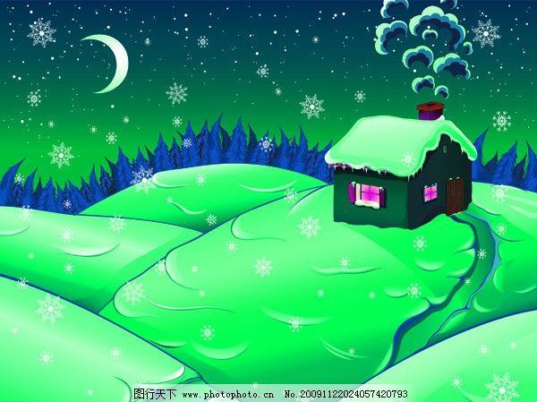 雪景 绿色 雪花 雪点 月亮 圣诞节 圣诞树 雪地 烟雾 房子