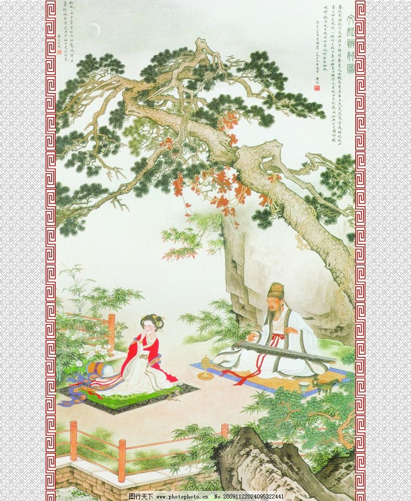 文姬辨琴图 国画 油墨画 风景图 风景 中国风 水墨 水墨画 壁画 壁纸