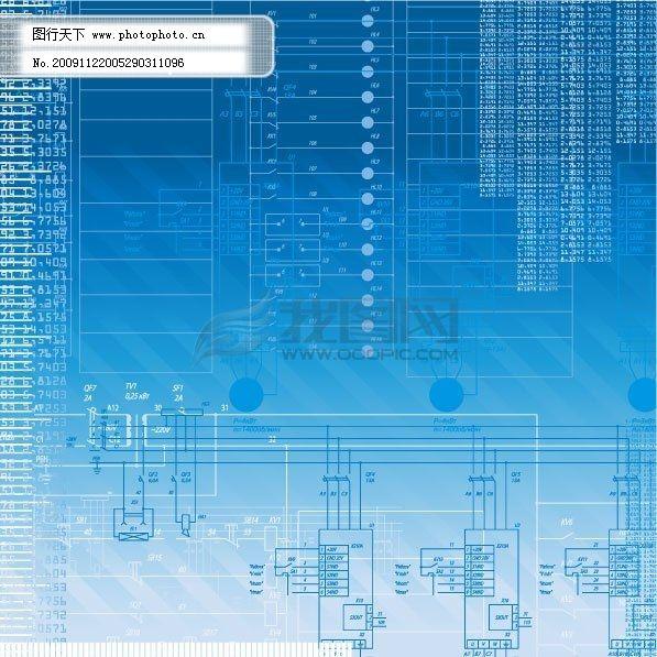 蓝色背景 蓝色背景免费下载 底纹 电路 线条 矢量图 花纹花边