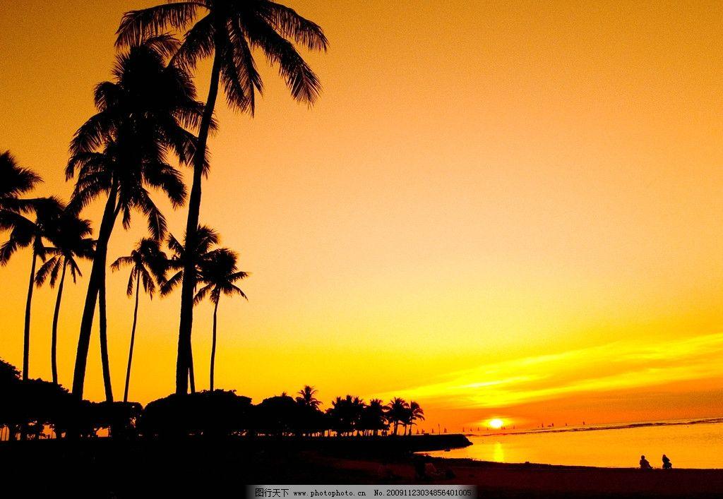 热带夕阳 热带 夕阳 椰子树 海 海边 人物 自然风景 自然景观 摄影