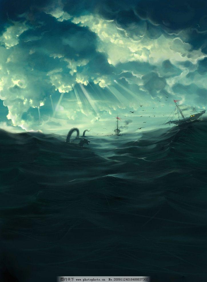 海上 夜晚 风景 手绘 恐龙 船 海 海面 风景漫画 动漫动画 设计 300