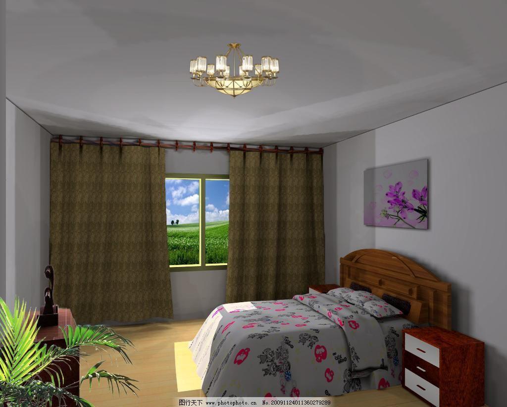 臥室 臥室圖片免費下載 被套 窗簾 床燈 地板 柜子 畫樹