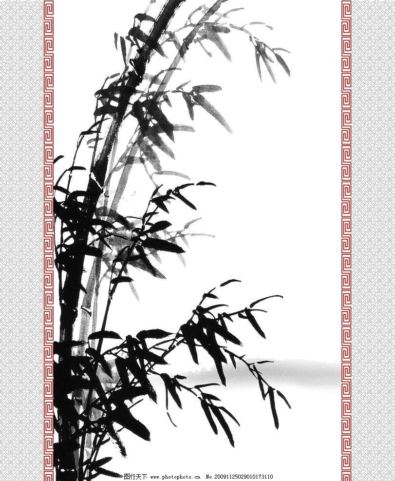 微风劲竹 水墨 竹子 竹叶 底纹 花纹 黑白 移门 移门系列 其他设计 环